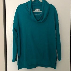 Teal Cowl Neck Fleece Sweater